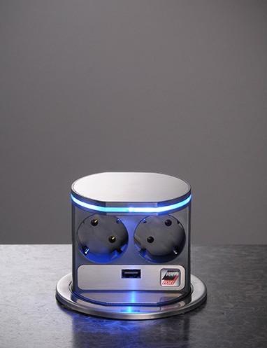 Image of   Pop up stikkontakt 2 EU stik + 1 Usb + blå lys