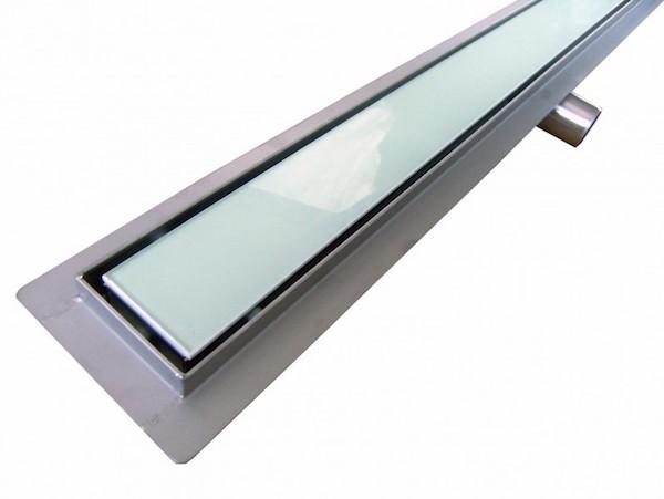 Image of   Afløbsrende i rustfri stål med hvidt glas 60 cm