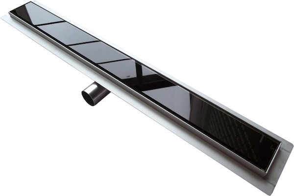 Image of   Afløbsrende i rustfri stål med sort glas 60 cm