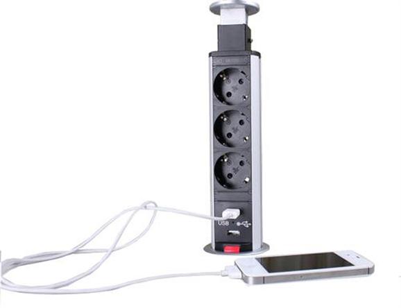 Image of   Pop Up stikkontakt 3 EU stik + 2 Usb chargers alu.