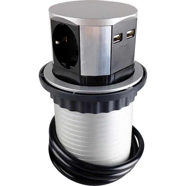 Image of   Pop up stikkontakt med 3 x 230V + 2 USB