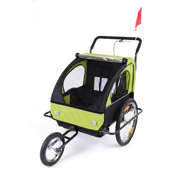 Image of   Cykelanhænger og jogger grøn/sort med sort ramme