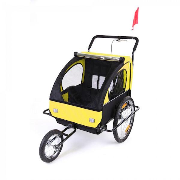 Image of   Cykelanhænger og jogger gul/sort med sort ramme