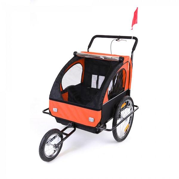 Image of   Cykelanhænger og jogger orange/sort med sort ramme