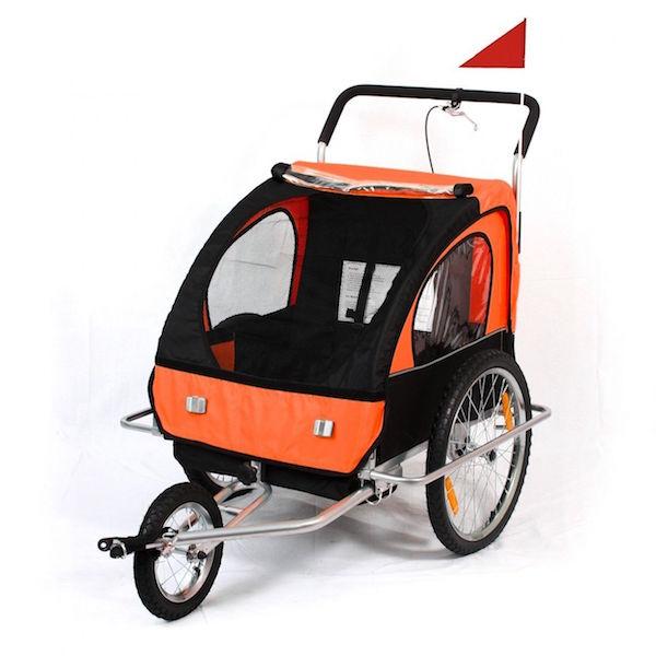 Image of   Cykelanhænger og jogger orange/sort