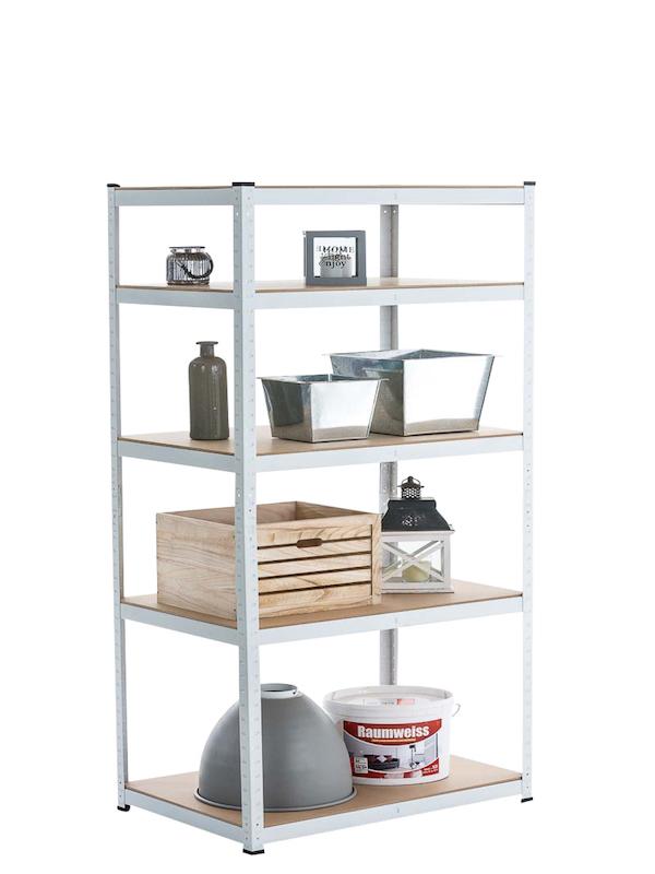 N/A – Lagerreol metal hvid 90 x 45 x 180 cm fra dagensbolig.dk
